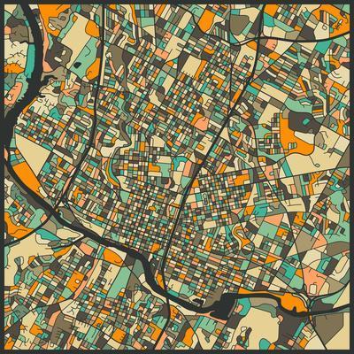 Austin Map-Jazzberry Blue-Art Print