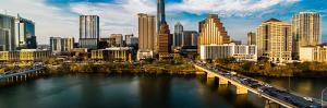 AUSTIN, TEXAS - Austin Cityscape Evening Skyline with skyscrapers down Congress Avenue Bridge ov...