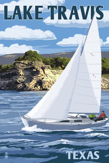 Austin, Texas - Lake Travis Sailing Scene-Lantern Press-Art Print