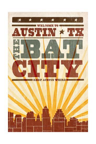 Austin, Texas - Skyline and Sunburst Screenprint Style-Lantern Press-Art Print