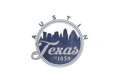 Austin, Texas - Skyline Seal (Blue)-Lantern Press-Art Print