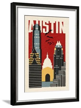 Austin, Texas - Woodblock-Lantern Press-Framed Art Print
