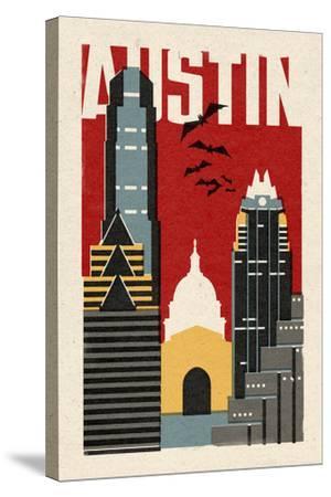 Austin, Texas - Woodblock-Lantern Press-Stretched Canvas Print