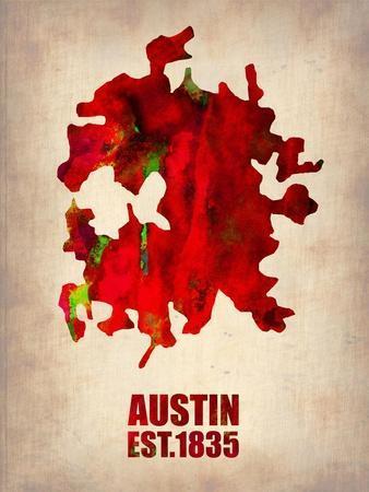 Austin Watercolor Map-NaxArt-Art Print