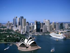 Australia Aerial of Sydney Opera House and Cruise