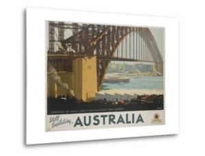 Australia, Constructing the Sydney Harbor Bridge Travel Poster