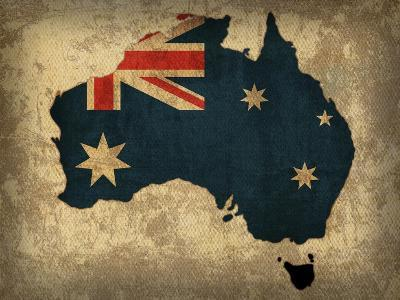 Australia Country Flag Map-Red Atlas Designs-Giclee Print