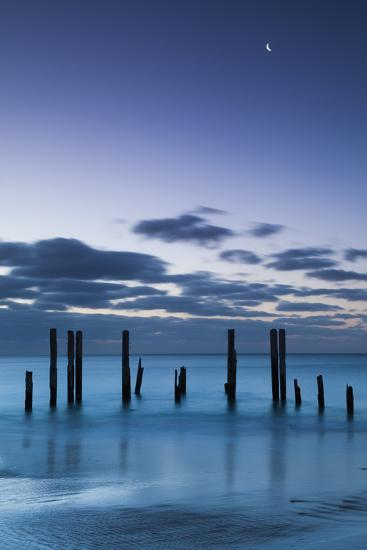 Australia, Fleurieu Peninsula, Port Willunga, Old Jetty, Dusk-Walter Bibikow-Photographic Print