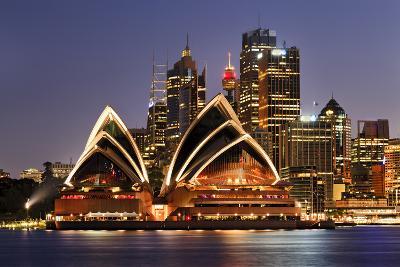 Australia Iconic Sydney City Landmarks CBD Harbour and Famous Buildings Greatly Illuminated at Suns-Taras Vyshnya-Photographic Print