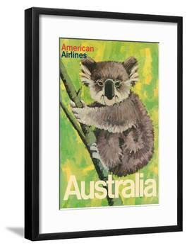Australia - Koala Bear In Tree - American Airlines-Robert Jones-Framed Art Print