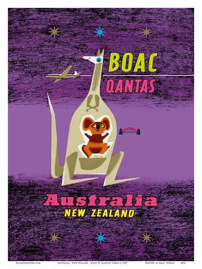 Australia - New Zealand - BOAC (British Overseas Airways Corporation)-Maurice Laban-Art Print