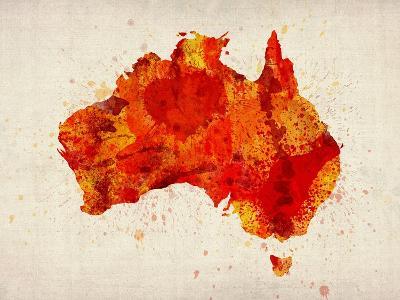 Australia Paint Splashes Map-Michael Tompsett-Art Print