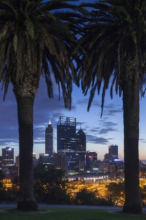 Australia, Perth, City Skyline from Kings Park, Dawn-Walter Bibikow-Photographic Print