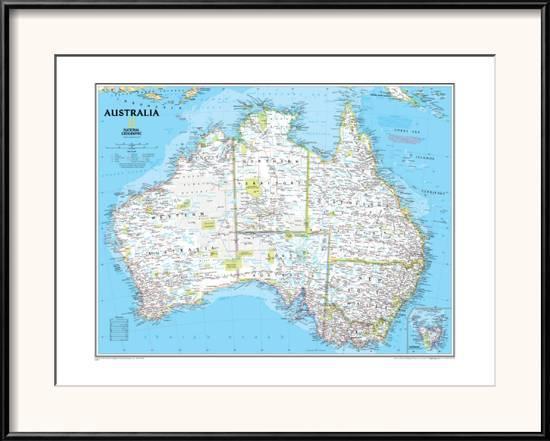 Map Of Australia Political.Australia Political Map Framed Art Print By National Geographic Maps Art Com