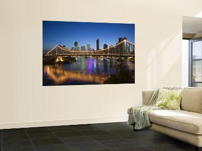 Australia, Queensland, Brisbane, Story Bridge with Riverside Centre Highrises-Walter Bibikow-Wall Mural