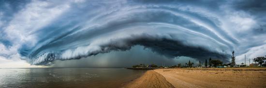 Australia, Redcliffe, Amazing Storm Cloud over Beach- Pete-Photographic Print