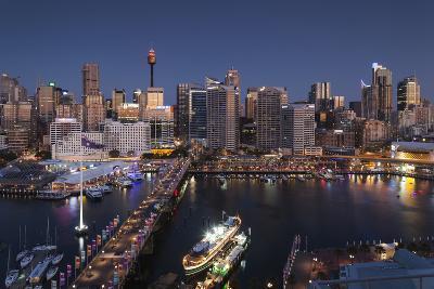 Australia, Sydney, Darling Harbor, and Pyrmont Bridge, Elevated View-Walter Bibikow-Photographic Print