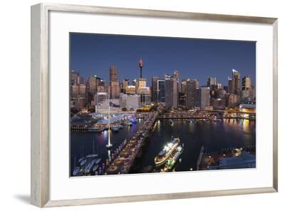 Australia, Sydney, Darling Harbor, and Pyrmont Bridge, Elevated View-Walter Bibikow-Framed Photographic Print