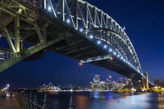 Australia, Sydney Harbor Bridge and Skyline from Milsons Point-Walter Bibikow-Photographic Print