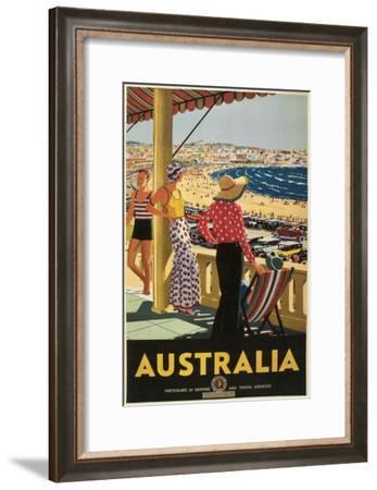 Australia Travel Poster, Beach--Framed Premium Giclee Print