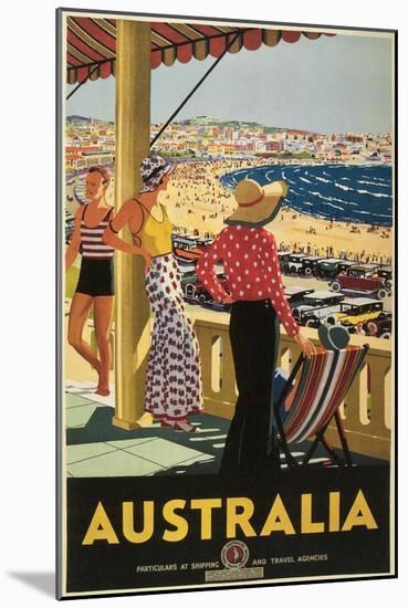 Australia Travel Poster, Beach--Mounted Premium Giclee Print
