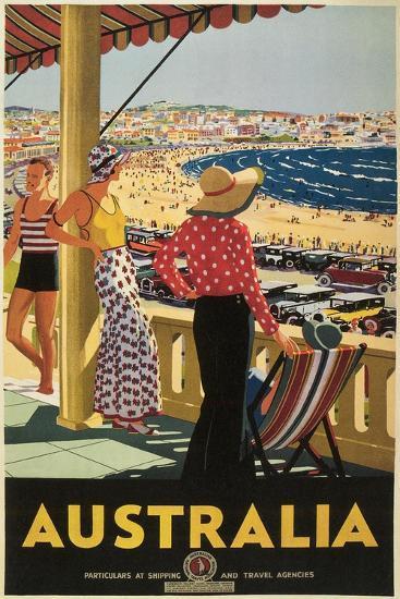 Australia Travel Poster, Beach--Art Print