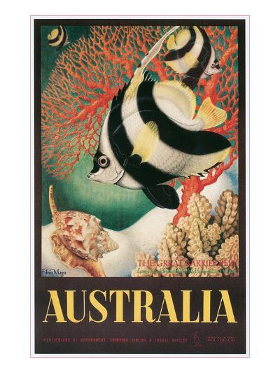 Australia Travel Poster, Great Barrier Reef--Art Print