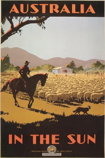 Australia Travel Poster, Sheep--Art Print
