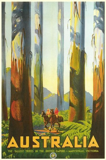 Australia Travel Poster, Trees--Art Print