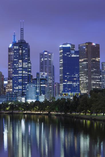 Australia, Victoria, Melbourne, Skyline Along Yarra River, Dawn-Walter Bibikow-Photographic Print