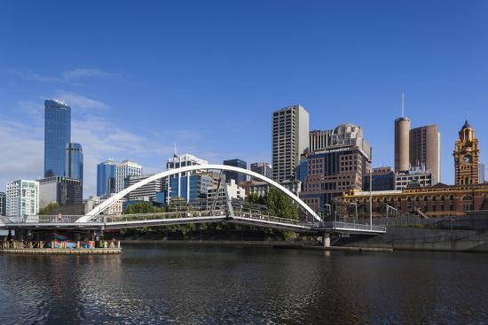 Australia, Victoria, Melbourne, Skyline from Yarra River-Walter Bibikow-Photographic Print