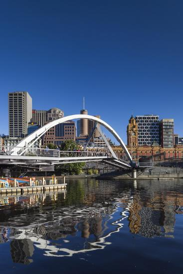 Australia, Victoria, Melbourne, Yarra River Footbridge and Skyline-Walter Bibikow-Photographic Print