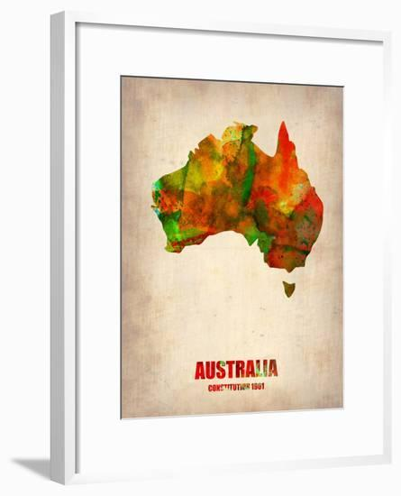Australia Watercolor Map-NaxArt-Framed Art Print