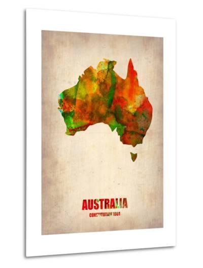 Australia Watercolor Map-NaxArt-Metal Print