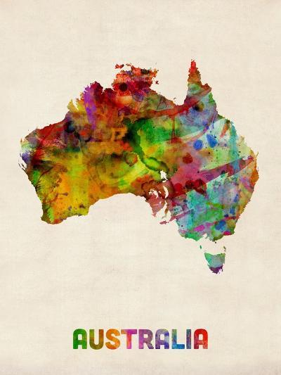 Australia Watercolor Map-Michael Tompsett-Art Print
