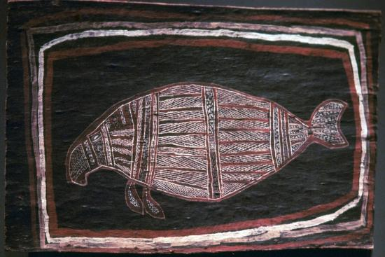 Australian Aboriginal bark-painting of a Dugong-Unknown-Giclee Print