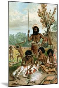 Australian Aborigines Butchering a Kangaroo, 1885-1888