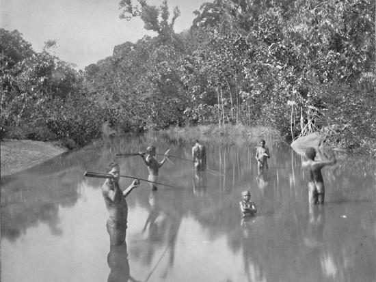 'Australian Aborigines Spearing Fish', 19th century-Unknown-Photographic Print