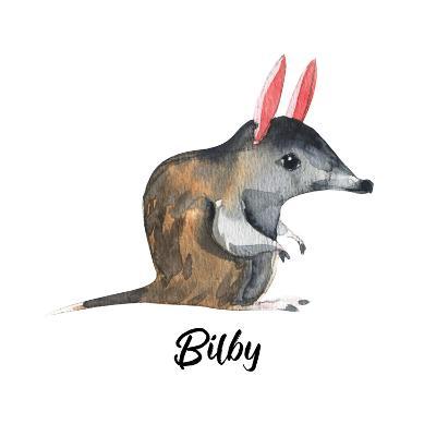 Australian Animals Watercolor Illustration Hand Drawn Wildlife Isolated on a White Background. Bilb-Kat_Branch-Art Print