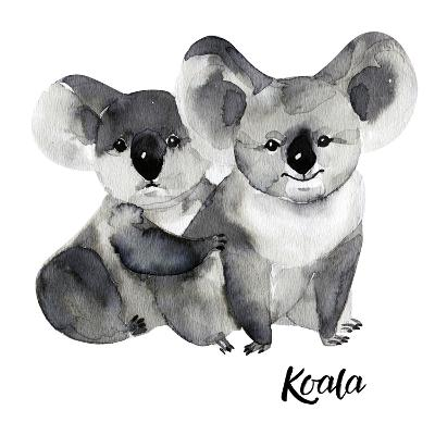 Australian Animals Watercolor Illustration Hand Drawn Wildlife Isolated on a White Background. Koal-Kat_Branch-Art Print