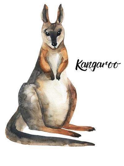 Australian animals watercolor illustration hand drawn wildlife isolated on a white background-Kat_Branch-Art Print