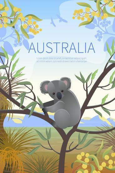Australian Landscape Poster. Every Element is Located on a Separate Layer. Images is Cropped with C-Annareichel-Art Print