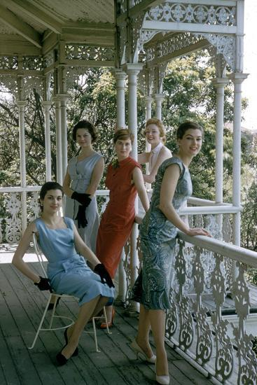 Australian Models Pose on a Porch, Melbourne, Australia, 1956-John Dominis-Photographic Print