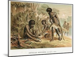 Australian Natives Preparing Meal from an Animal They Have Hunted, C1895