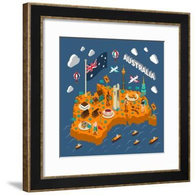 Australian Touristic Isometric Map with National Cuisine Landmarks Wildlife Popular Sport and Surfe-Macrovector-Framed Premium Giclee Print