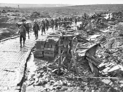 Australian Troops Passing Along the Track Leading to Idiot Corner--Photographic Print