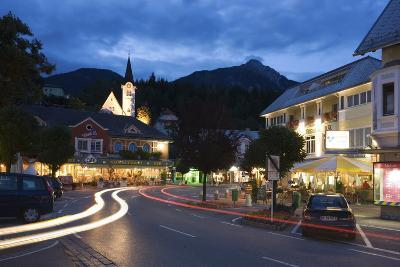 Austria, Carinthia, Hermagor, Streets Scenery, Light-Tracks, Twilight-Rainer Mirau-Photographic Print