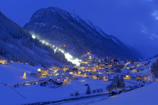 Austria, Ischgl, Local Overview, Winter, by Night,-Ludwig Mallaun-Photographic Print