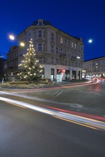 Austria, Lower Austria, Bathing, Streets Scenery, Light-Tracks, Evening-Mood, Fir-Tree-Rainer Mirau-Photographic Print