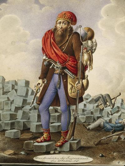 Austria, Satire Depicting Revolutionary at Barricades of Leopoldstadt During 1848 Revolution-Johann Franz Rousseau-Giclee Print